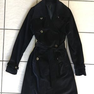 Women's RVCA Navy Velvet Trench Coat